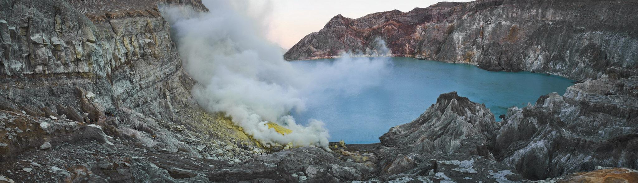 indonezja 0584PANO W siarkowym piekle   Wulkan Ijen